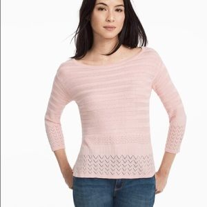 WHBM Pink 3/4 Sleeve Boxy Pullover Sweater - Med